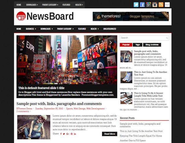 NewsBoard Blogger Responsive Template