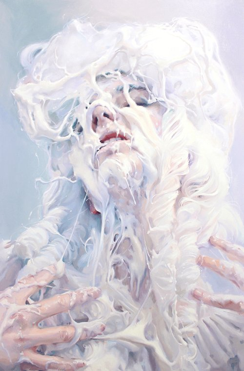 Ivan Alifan pinturas retratos homens mulheres cobertas creme branco e sobremesas comida fetiche sexualidade