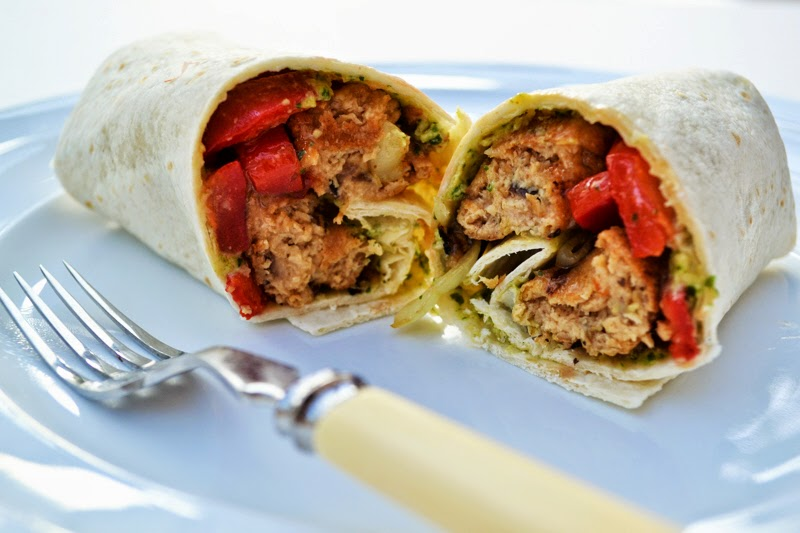 Veggie Sausage and Pepper Wrap