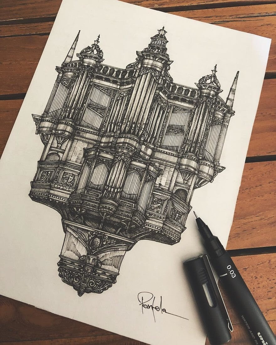 03-Saint-Etennie-Cathedral-Alex-Pantela-Ink-Urban-Architectural-Drawings-www-designstack-co