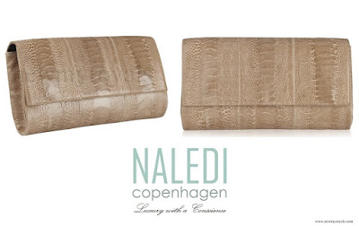 Crown Princess Mary style Naledi Copenhagen Allana Latte Ostrich Clutch
