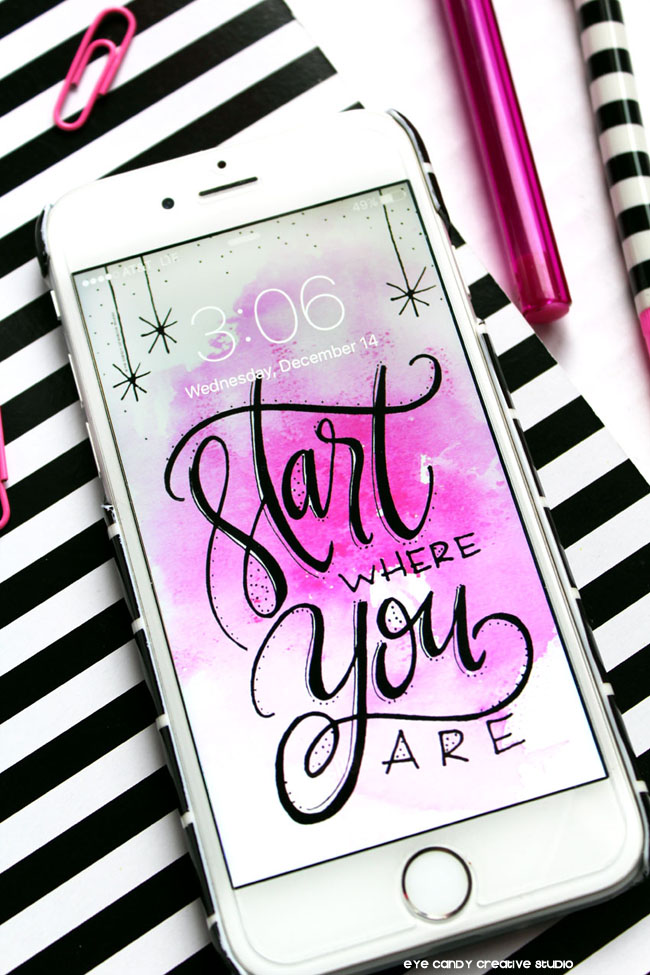 digital wallpaper, start where you are, hand lettered art, hot pink watercolor