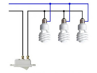 Residential electrical installations diagram three spotlights in parallel