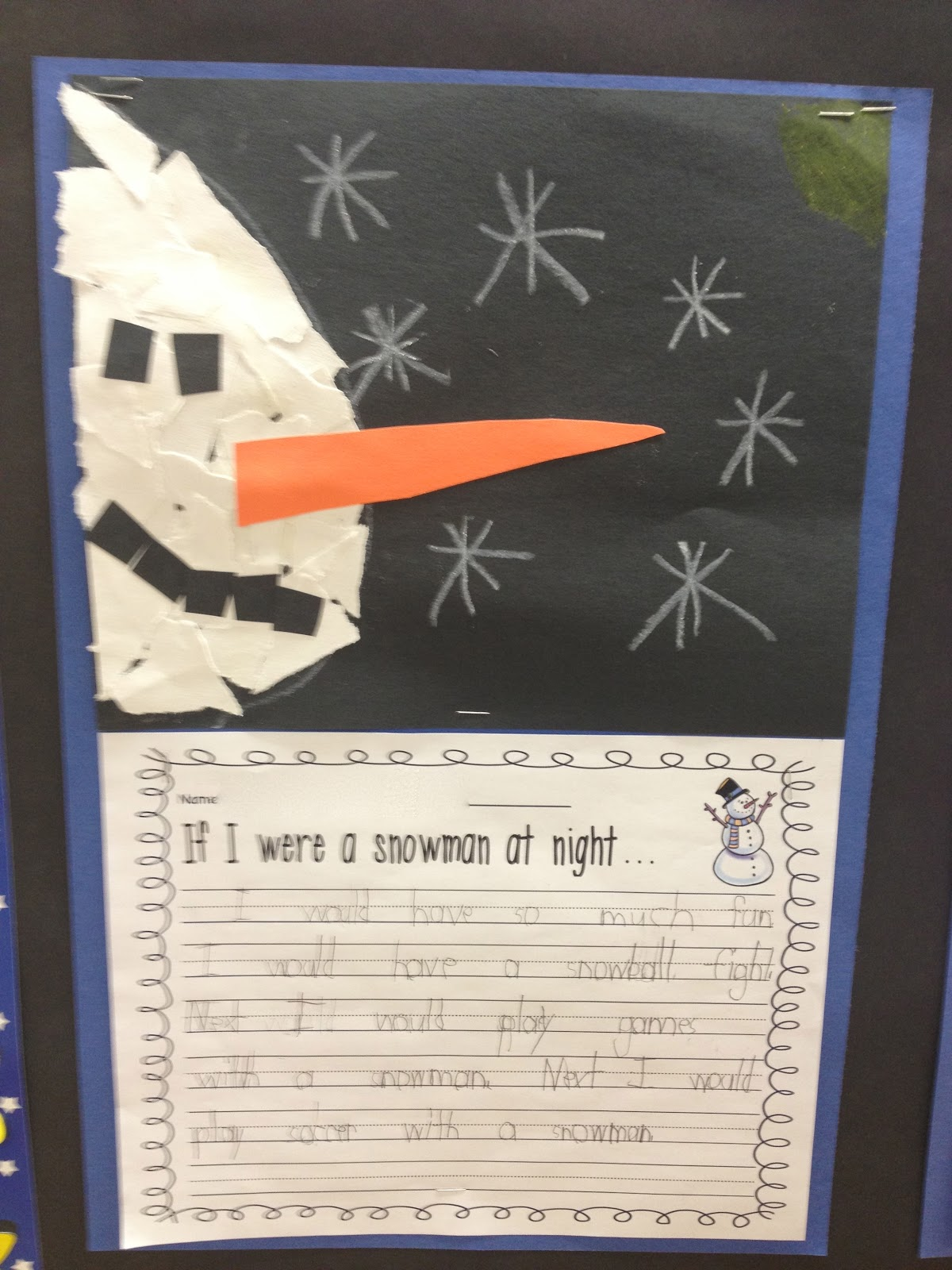 snowmen at night writing activity first grade