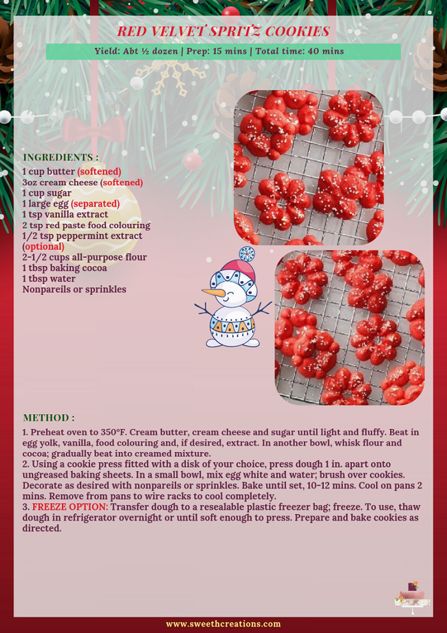 RED VELVET SPRITZ COOKIES RECIPE