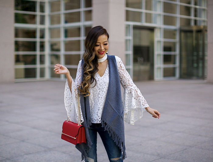 bell sleeve lace top, fringe vest, baublebar earrings, strathberry east west bag, sts blue jeans, aquazzura lace up heels, fall fashion style, fall outfit ideas, san francisco fashion blog