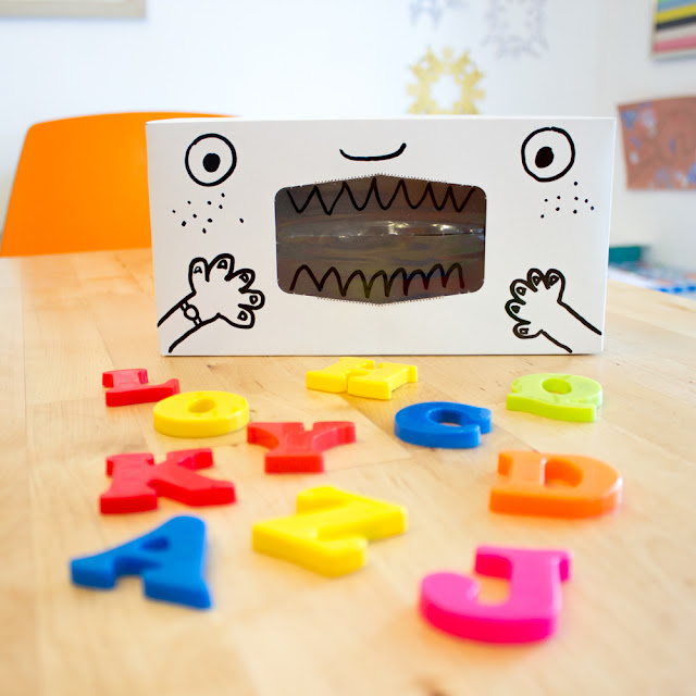 tissue box alphabet eaters- preschool letter learning activity