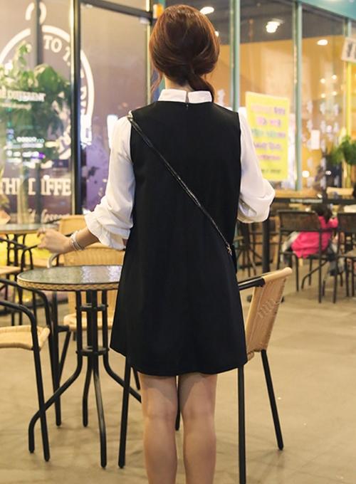 Mandarin Collared Mock-Layered Dress