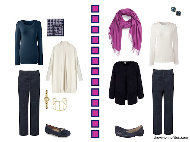 2 outfits in navy, hot pink and white, including navy corduroy pants