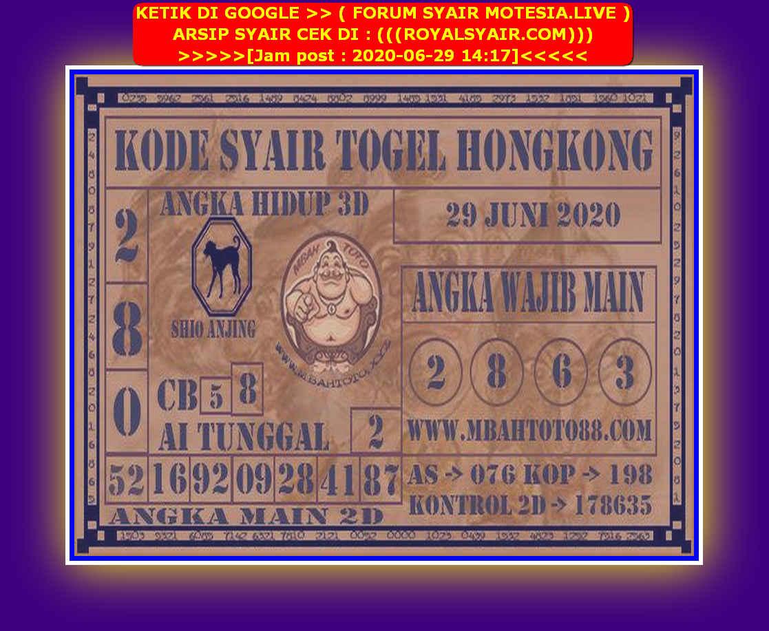 Kode syair Hongkong Senin 29 Juni 2020 154