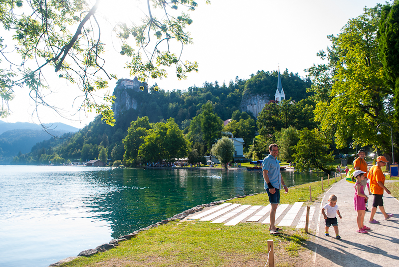 Families out by the lakes in the summer bled, slovenia