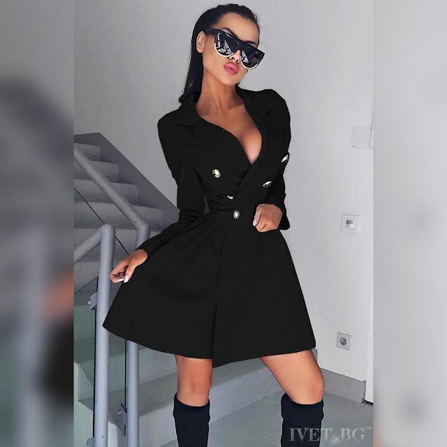 Μακρυμάνικο εντυπωσιακό  μαύρο φόρεμα PAMELIA BLACK