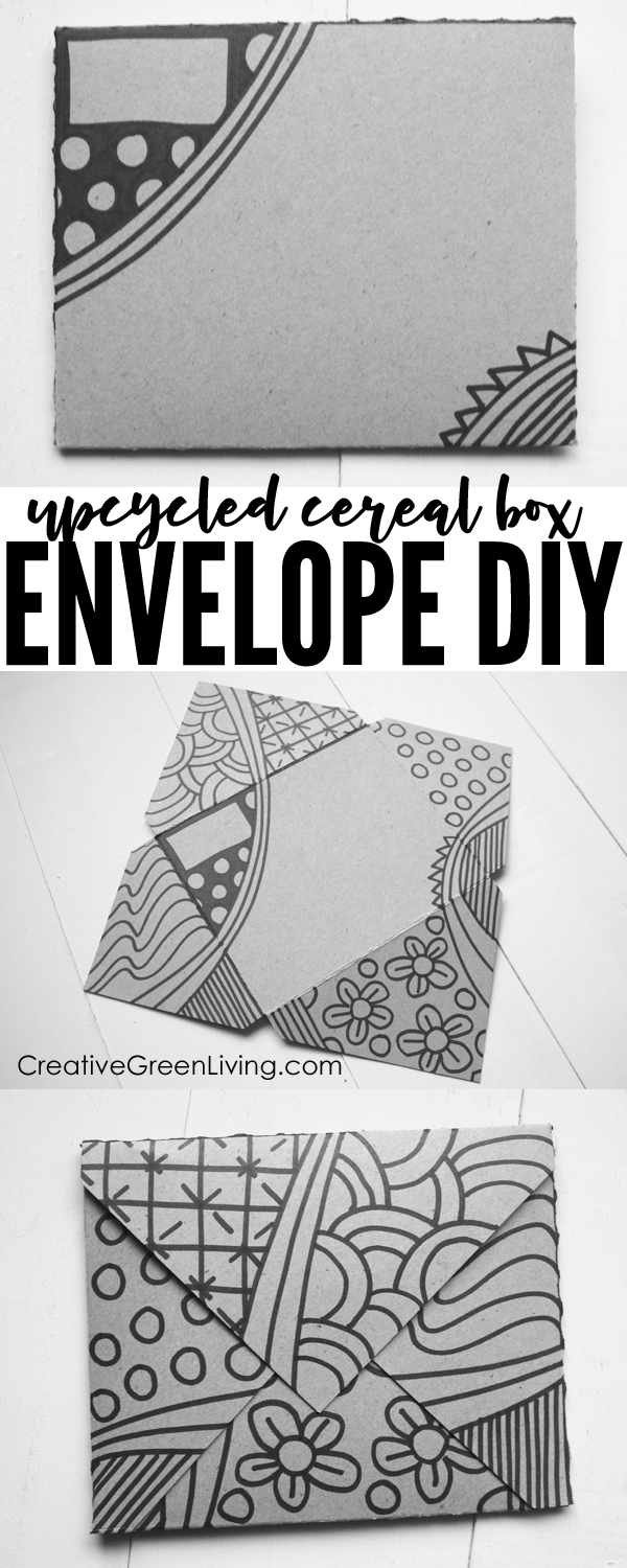How to make an envelope step by step! This easy tutorial shows you how to make an envelope our of cardstock or paper board (like a used cereal box). It's the perfect size for a card and the perfect way to upcycle empty boxes from your recycling bin! I love that you can make a cute envelope out of a square like this! #creativegreenliving #papercrafts #howtomakeanenvelope #upcycling #recycledcrafts #upcycledcrafts #upcycle