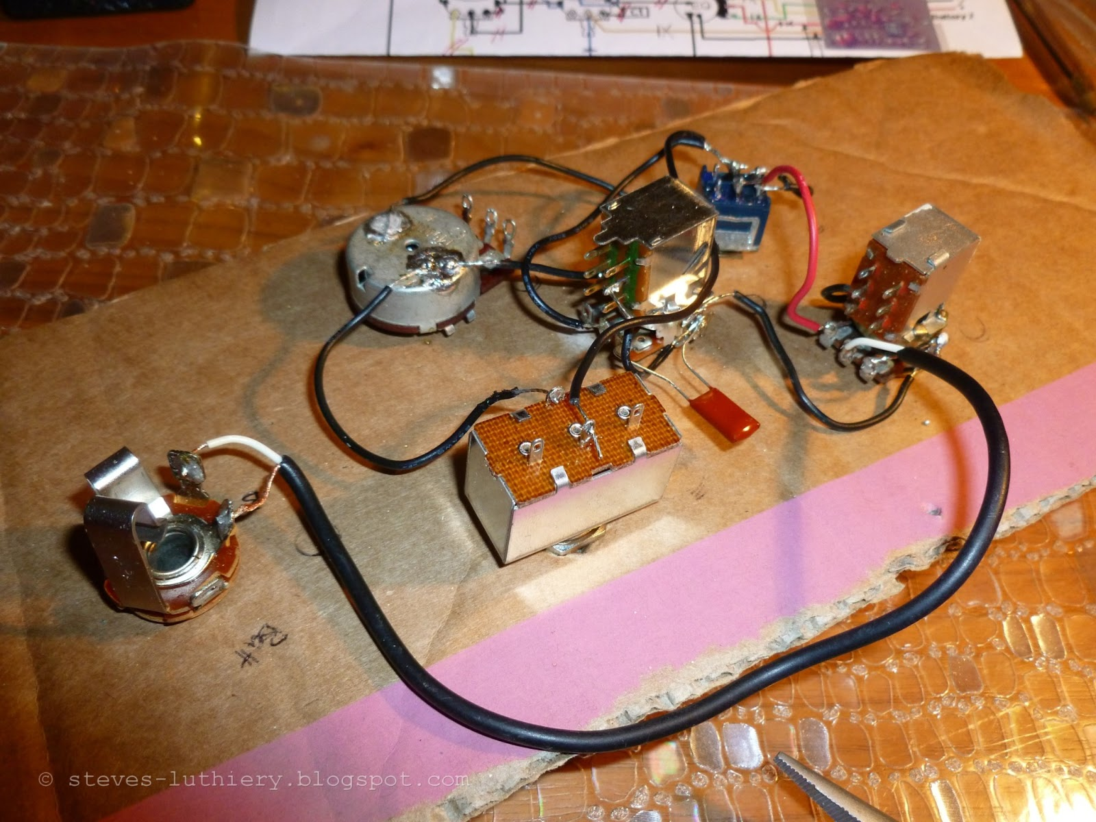 Steves Luthiery Blog 2013 Wiring Guitar Jack Input Including The Shielded Wire Salvaged From Scraps That Came With To Volume Pot And Tone Capacitor