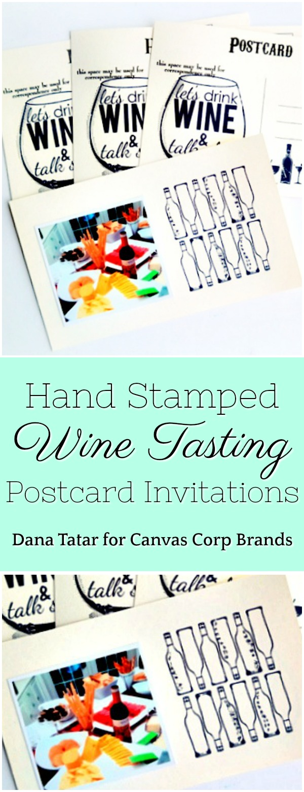 Wine Tasting Party Stamped Postcard Invitations by Dana Tatar