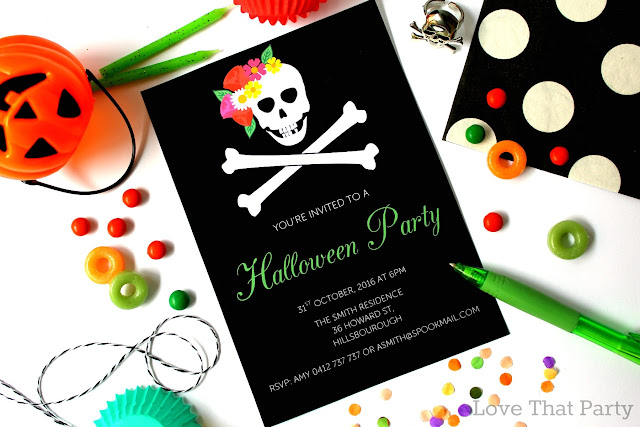 floral skull invitation with party supplies Halloween invite