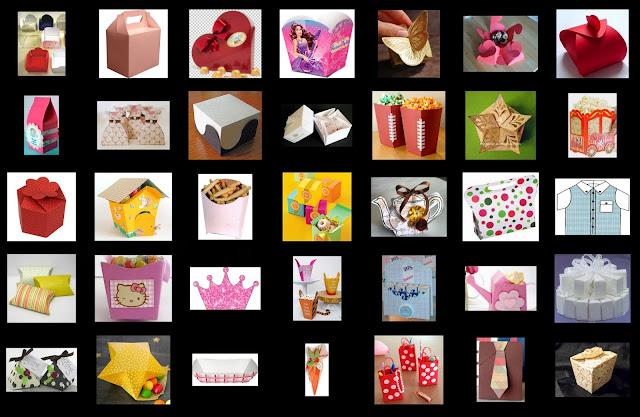 Free Templates for Party Boxes, Gift Boxes or Party Souvenirs. Free BoxTemplate.
