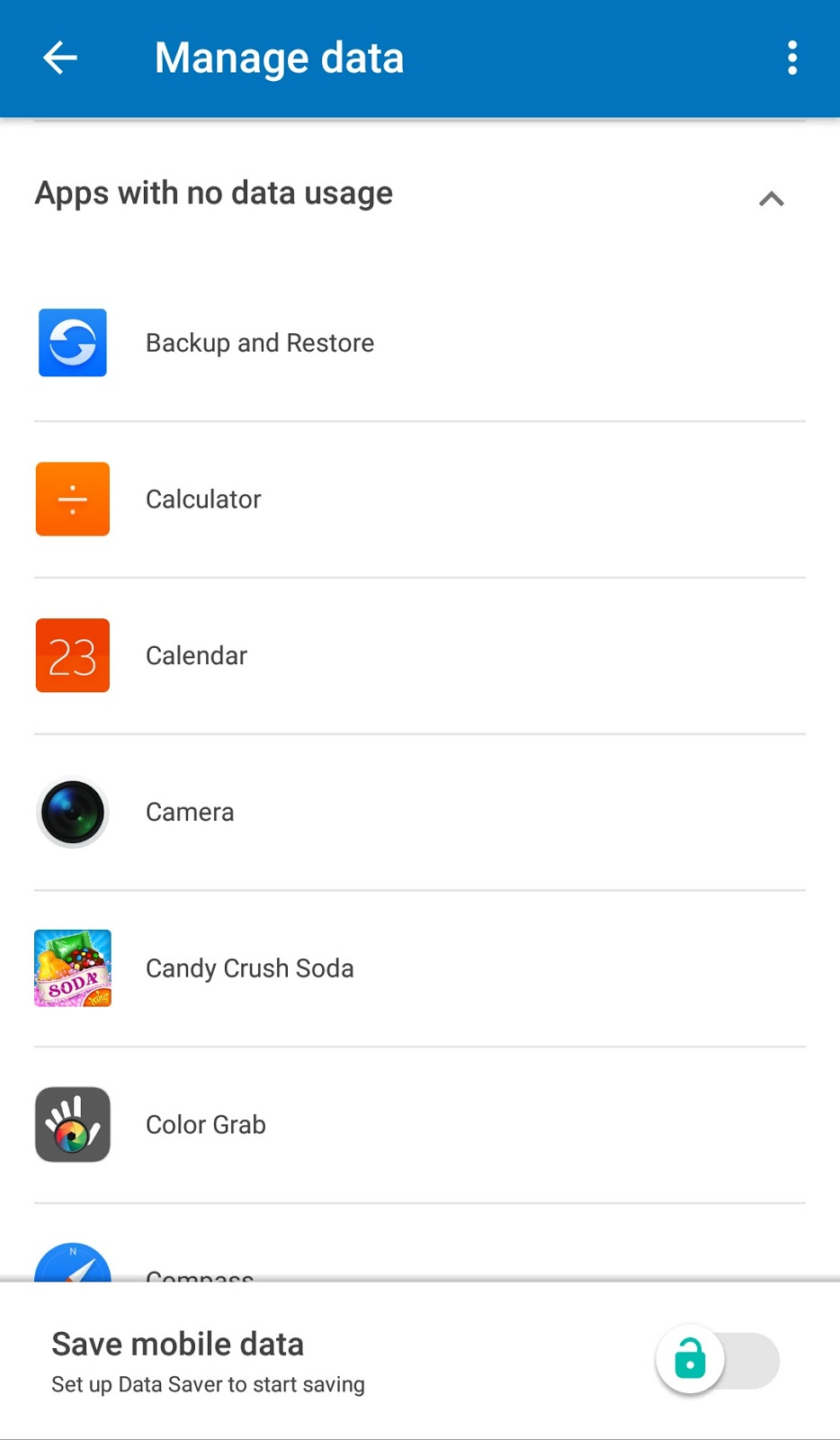 List of apps with no data usage
