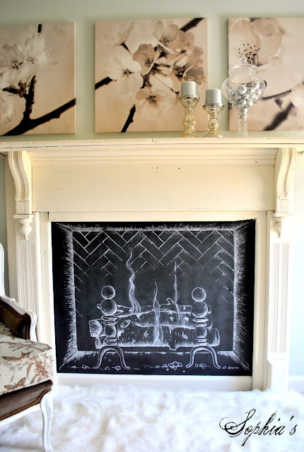 chalkboard paint projects - create a fireplace draft stopper