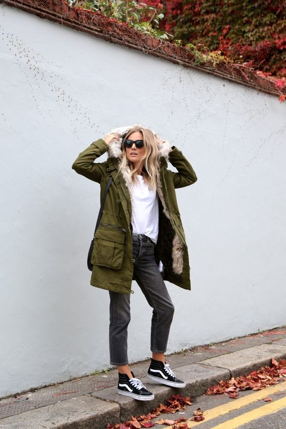 Fashion Me Now - Khaki Fur Hood Parka + Black Vans Sk8 Hi Sneakers