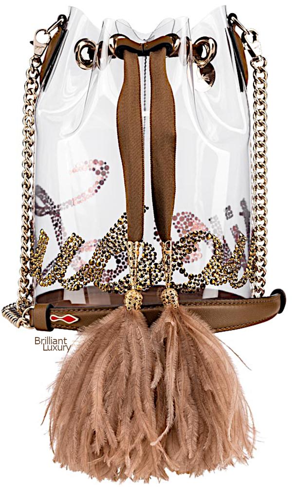 Brilliant Luxury♦Christian Louboutin Marie Jane bucket bag in chocolate brown
