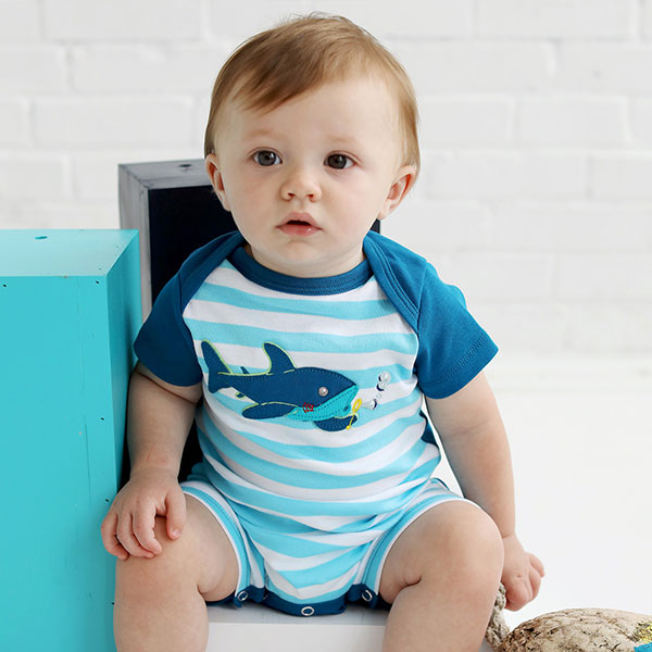 Lemon Loves Layette baby boy shark romper