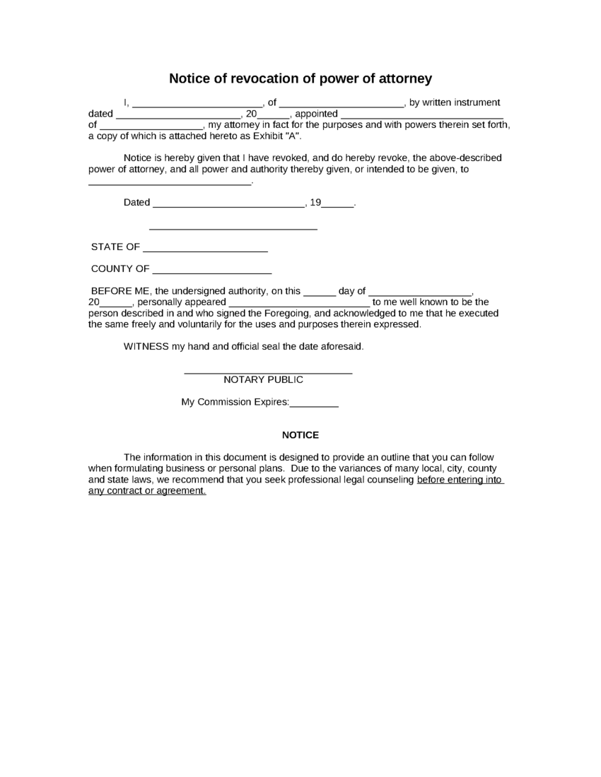 letter of power of attorney format power of attorney form 23019 | Notice of revocation of power of attorney
