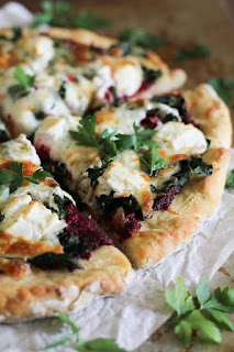 beet and pesto pizza