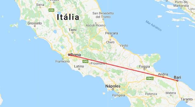 Mapa da viagem de Bari a Roma