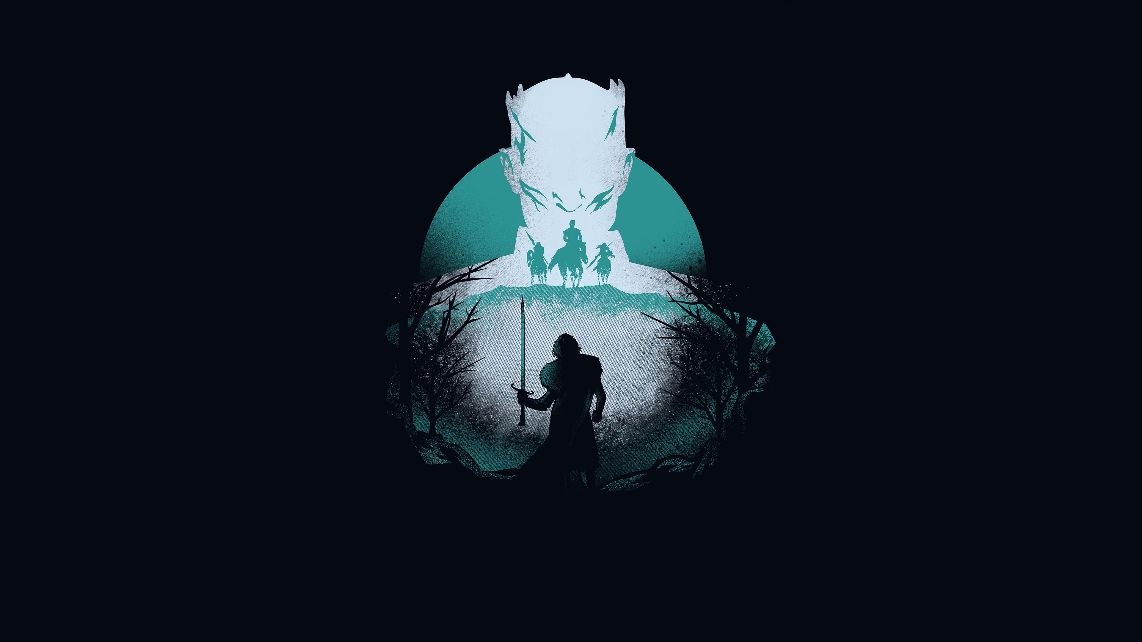 Night King, Jon Snow, Minimalist, Game of Thrones, 4K, #52 ...
