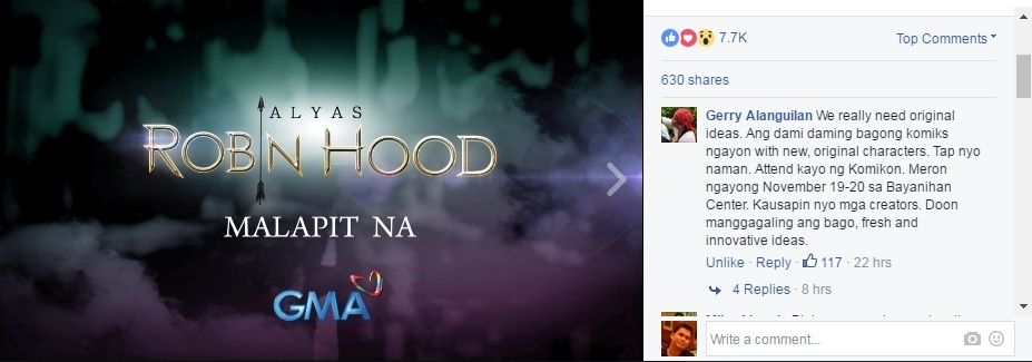 Komikero Gerry Alanguilan reacts to Alyas Robin Hood Teaser Trailer