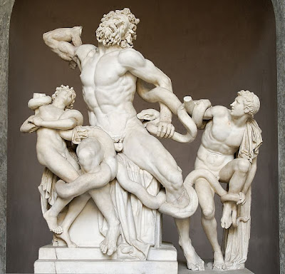 Laocoon statue, men struggling with an entangling serpent