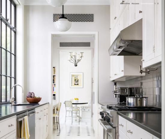 iron windows stainless steel kitchen painted floors NYC townhouse