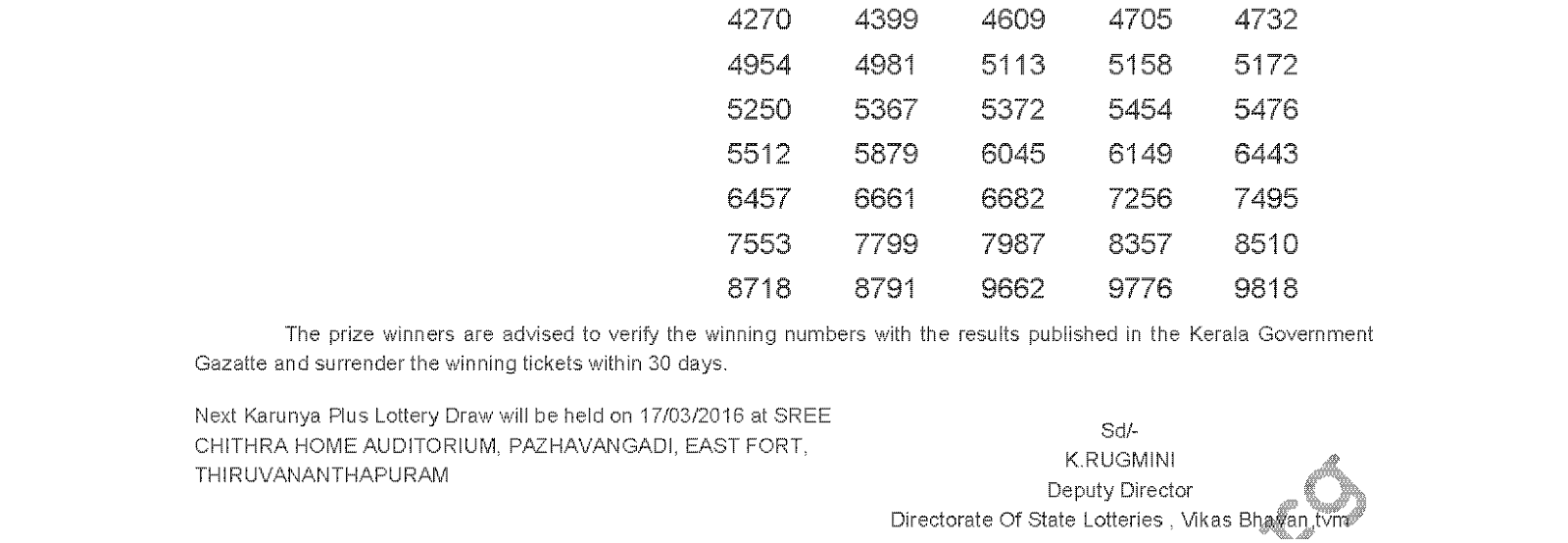 KARUNYA PLUS Lottery KN 100 Result 10-03-2016