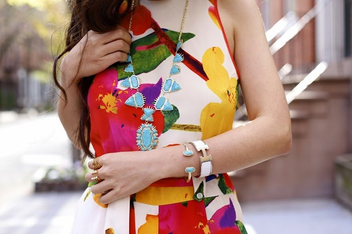 yumi kim joyce jumper, lack of color hat, kendra scott havana statement necklace, kendra scott elton bracelet, via maya, tory burch wedges, girl, fashion blog, hermes bracelet, bauble bar statement earrings, baublebar statement ring, street style, nyc , floral sunshine print, spring outfit