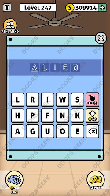 The answer for Escape Room: Mystery Word Level 247 is: ALIEN