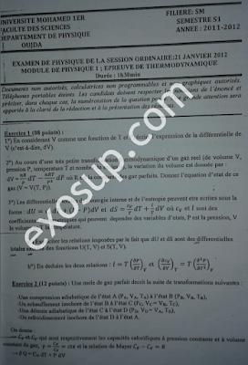 examen corrigé thermodynamique 1