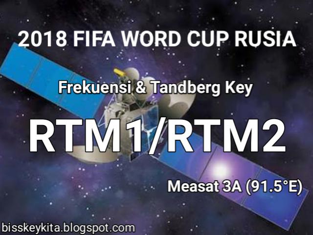 Frekuensi dan Tandberg Key RTM1 dan RTM2 Malaysia, Chanel Piala Dunia 2018 Rusia