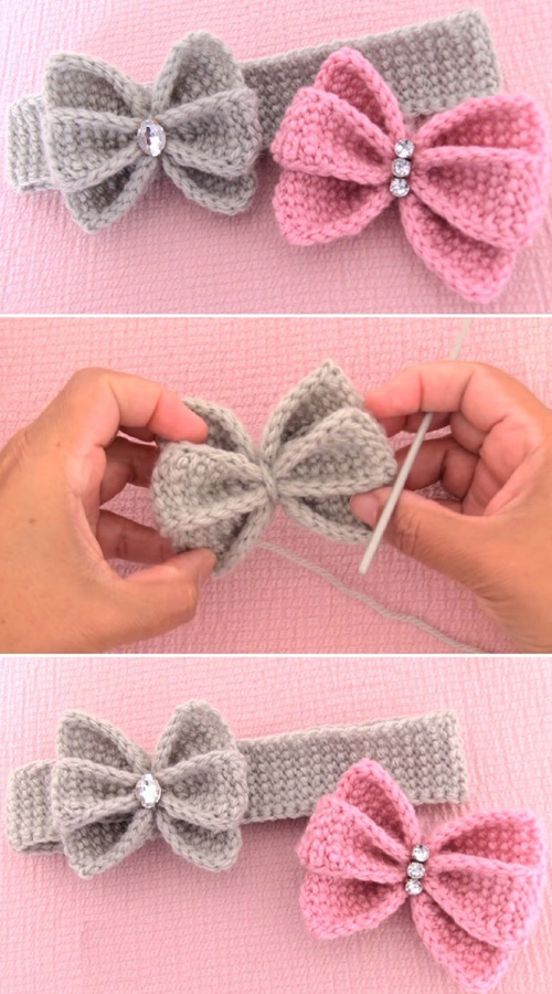 Crochet Easy Butterfly Bow Headband - Tutorial