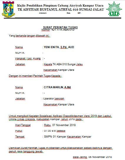 Contoh Surat Perintah Tugas Operator Sekolah Secercah Ilmu