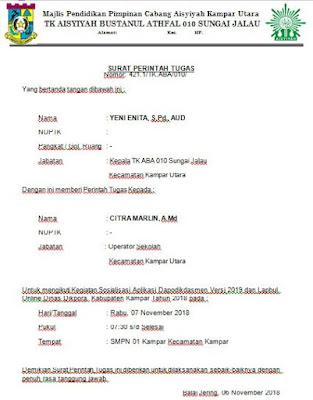 Geveducation:  Contoh Surat Perintah Tugas Operator Sekolah