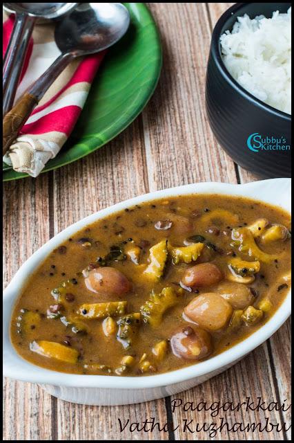 Bitter gourd Vatha Kuzhambu Recipe (Pagarkkai Vatha Kuzhambu)