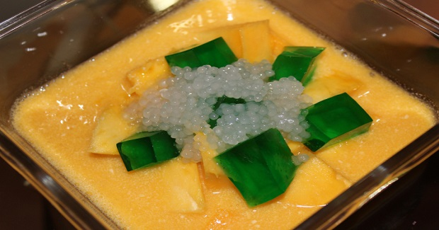 Chilled Mango Dessert With Sago And Grass Jelly Recipe