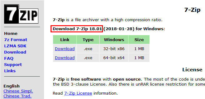 7-Zip download versione 18.01