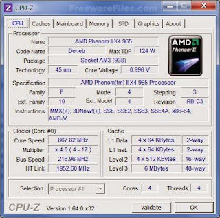 CPU-Z Portable program shows every computer specification