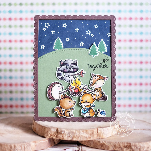Sunny Studio Stamps: Critter Campout Starry Night Sky Card by Lexa Levana
