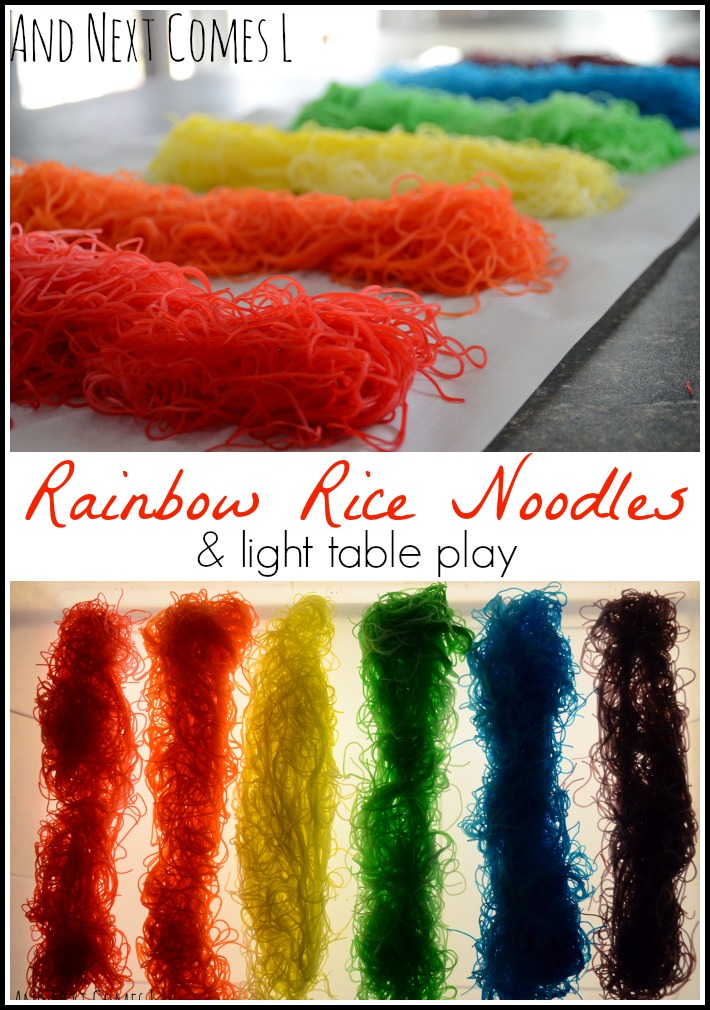 Rainbow dyed rice noodles and light table play from And Next Comes L