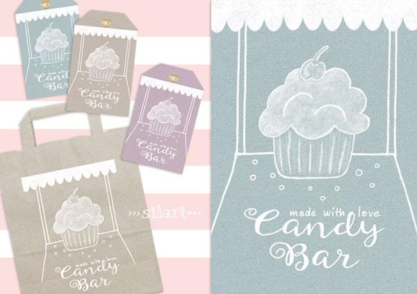 Candy Bar Papeterie, Karte und Anhänger