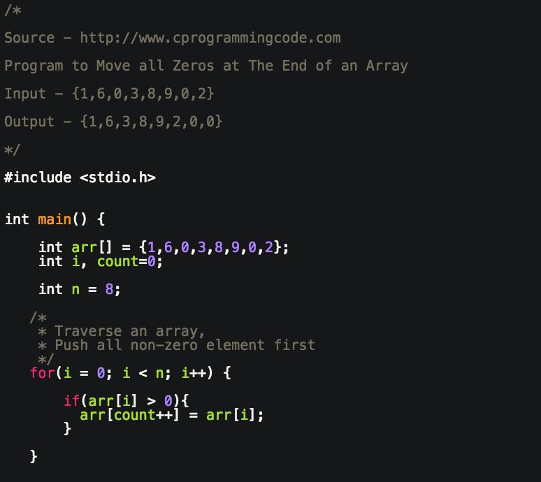 Programming Tutorials: Write a Program to Move all Zeros to