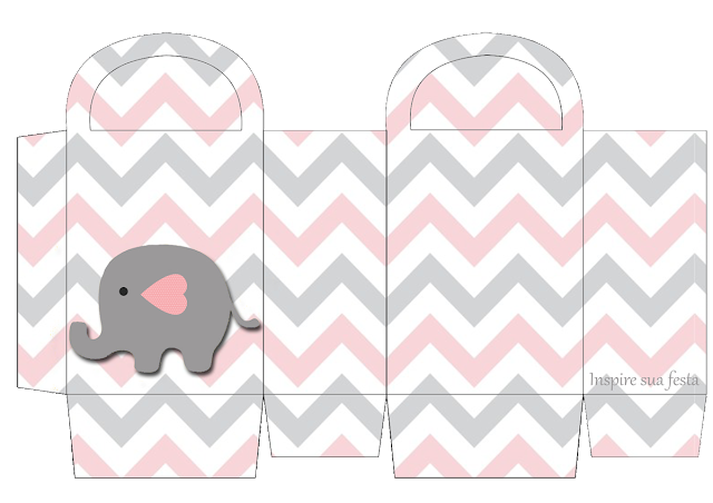 Baby Elephant in Grey and Pink Chevron Free Printable Box.